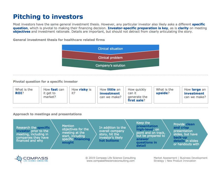 Most investors have the same general investment thesis. However, any particular investor also likely asks a different specific question, which is pivotal to making their financing decision. Investor-specific preparation is key, as is clarity on meeting objectives and investment rationale. Details are important, but should not detract from clearly articulating the story.